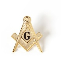 Mason - Black G On Gold Square & Compass