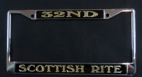 Black & Gold - 32ND/Scottish Rite License Plate Frame