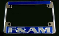 Blue F&A.M. Motorcycle License Plate Frame