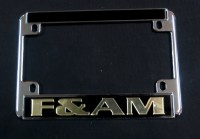 Black F&A.M Motorcycle License Plate Frame