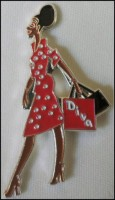 Diva Lapel Pin - Lady in Red Dress