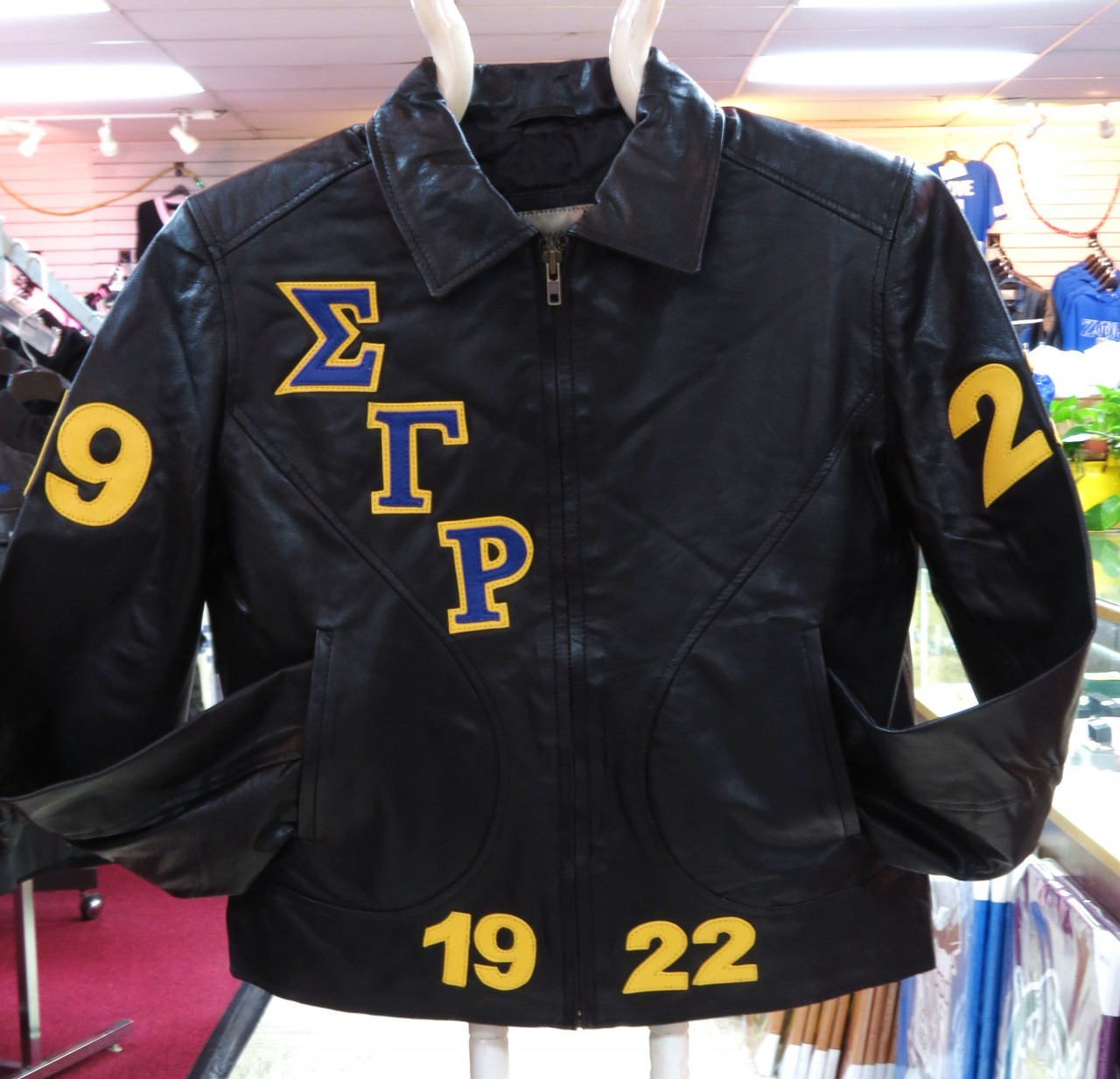 Sigma Gamma Rho Fitted Bomber Leather Jacket The Greek Shop