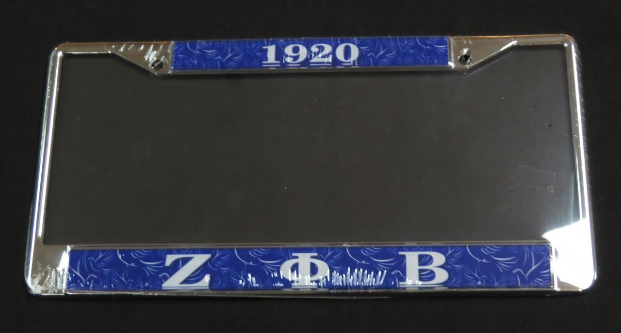 Zeta Phi Beta Quot Blue Quot License Plate Frame The Greek Shop