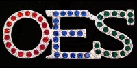 OES - Order of the Eastern Star - Pin w/Stones - Red/Blue/Green