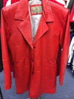 RED Leather Trench Coat (CLOSED OUT )